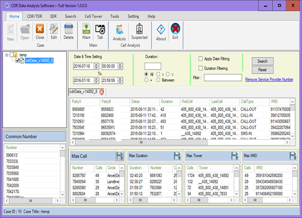 CDR Data Analysis Software to Collect CDR Info & Track Mobile